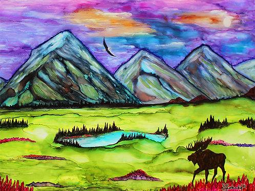 """""""Awaicn'd Alaska"""",  alcohol ink painting"""