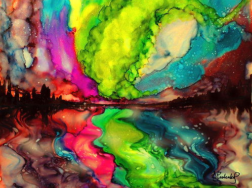 """Aurora's Dance"",  alcohol ink painting"