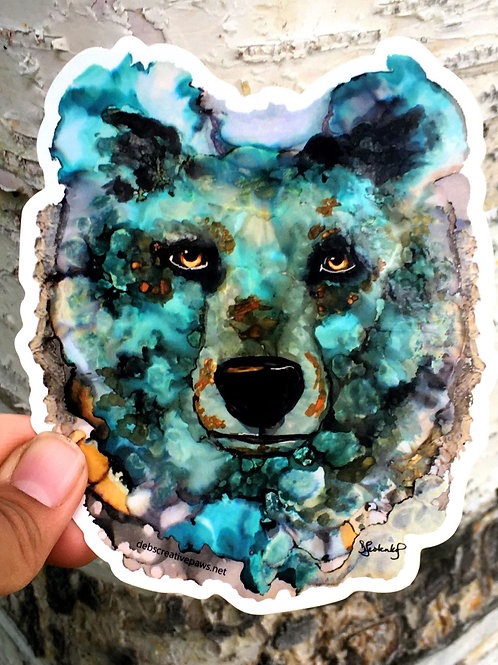 XL Glacier Bear waterproof sticker by Deb Lestenkof