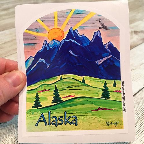 Alaska landscape waterproof sticker