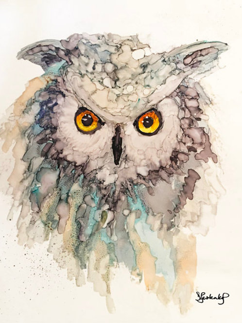 """""""Crystalline Owl"""", alcohol ink painting"""