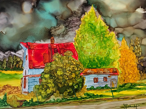 """Ole Barn"", alcohol ink painting"