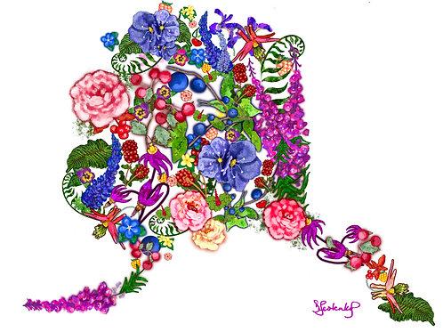 """Flower Alaska"", alcohol ink painting"