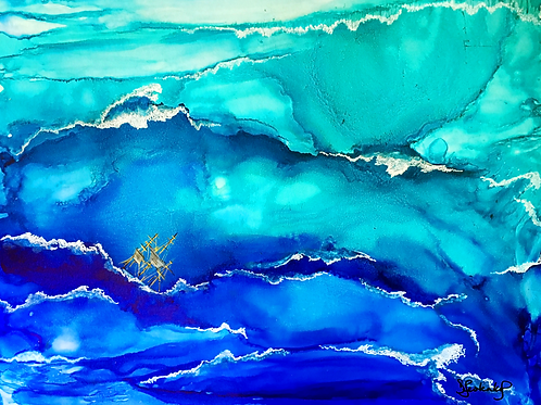 """Crashing Waves"", alcohol ink painting"