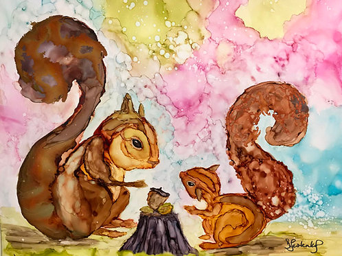 """""""Squirrel Supper"""", alcohol ink painting"""