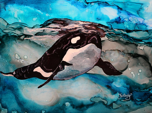 """Orca Surfacing"", alcohol ink painting"