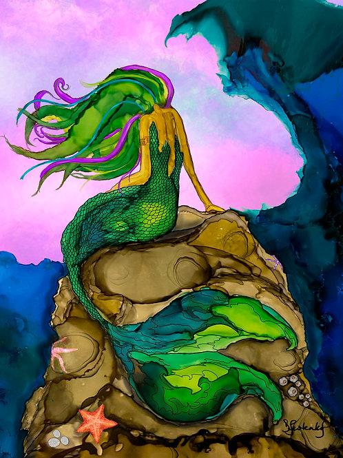 """Siren Splash"", alcohol ink painting"