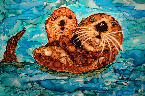 """""""Otterly Love"""", alcohol ink painting"""