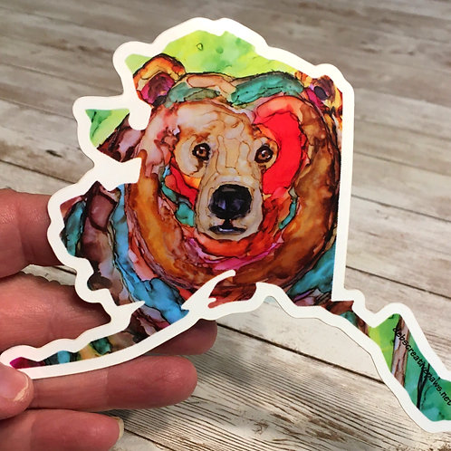XL Bear AK waterproof sticker