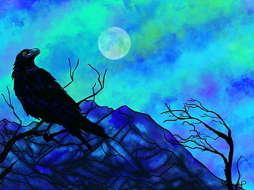 """The Raven's View"", alcohol ink painting"