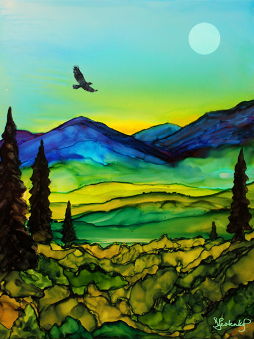 """Fairbanks my Home"", alcohol ink painting"