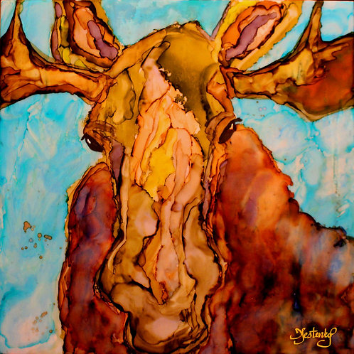 """Moose Face On"", alcohol ink painting"