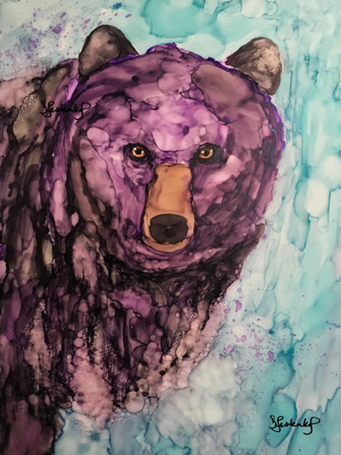"""Midnight Fog Bear"", alcohol ink painting"