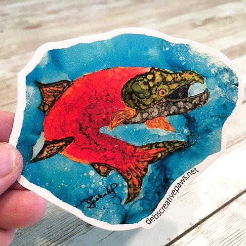 Jumping Salmon waterproof sticker