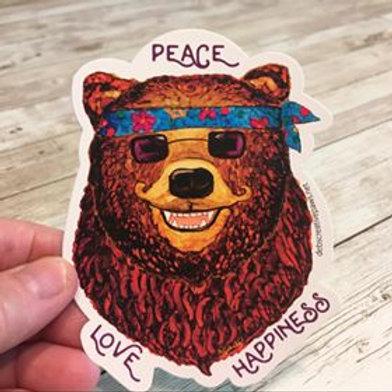 Peace Love Happiness Bear waterproof sticker
