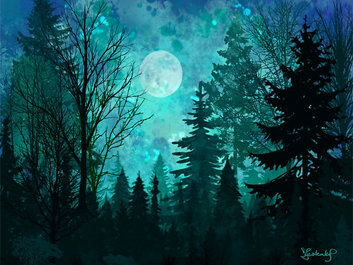 """""""Moonlit Forest"""", alcohol ink painting"""