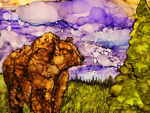 """Twilight Wanderer"",  alcohol ink painting"