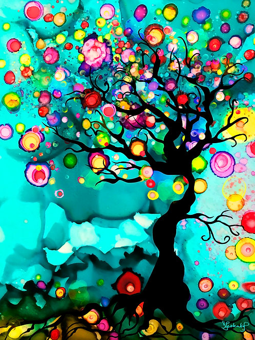 """""""Imagination Tree"""", alcohol ink painting"""