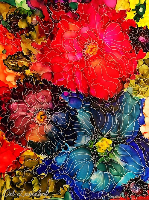 """""""Colorful Muse"""", flower alcohol ink painting"""