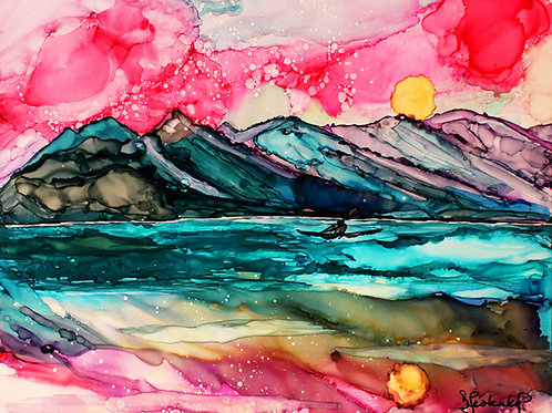 """Cook Inlet Kayak"", alcohol ink painting"