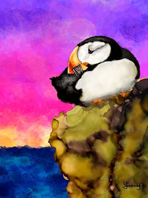 """""""Puffin Rock"""", alcohol ink painting"""