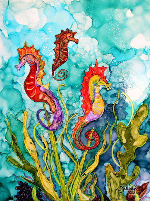 """""""Seahorse Family"""", alcohol ink painting"""