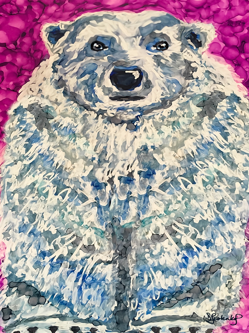 """Polar Expression"", bear alcohol ink painting"