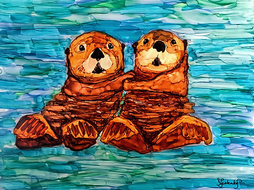 """Hold On Tight"", otter alcohol ink painting"