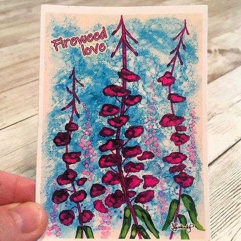 Fireweed Love waterproof sticker