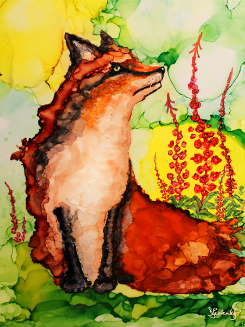"""Fox in Fireweed"",  alcohol ink painting"
