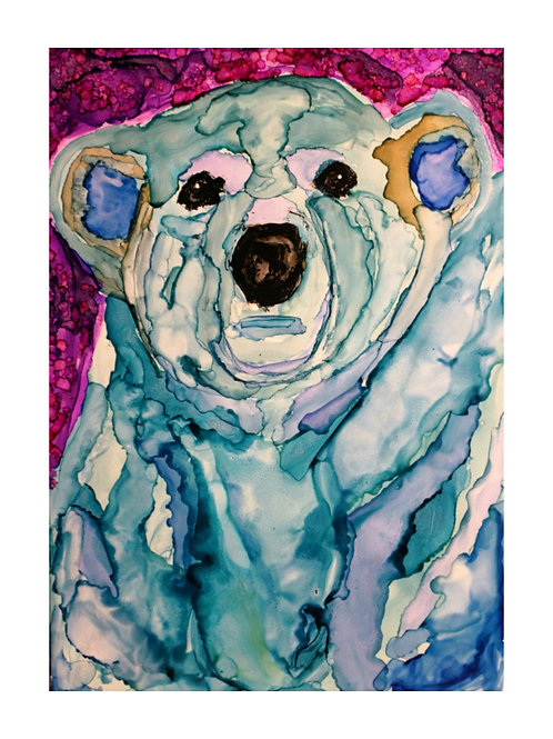 """Polar Ice"", bear alcohol ink painting"