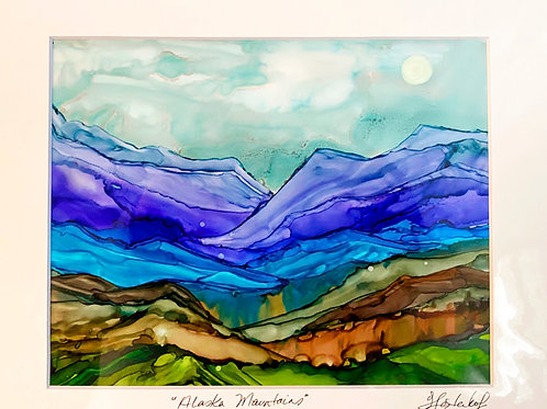 Purple Mountains, original alcohol ink painting