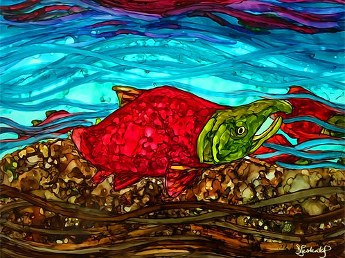 """""""The Stream"""",  alcohol ink painting"""