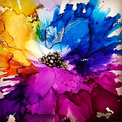 """""""Burst of Color Flower"""", alcohol ink painting"""