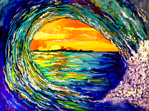 """Wave Sunset"", alcohol ink painting"