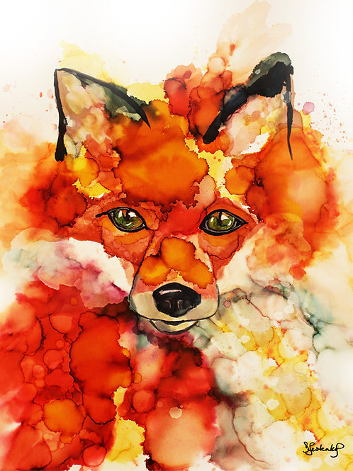 """Fox Whispers"", alcohol ink painting"