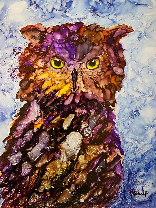 """Late Night Owl"", alcohol ink painting"