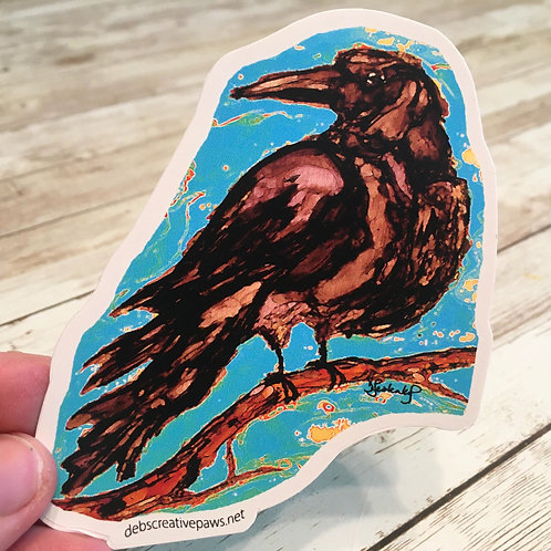 Perched Raven waterproof sticker