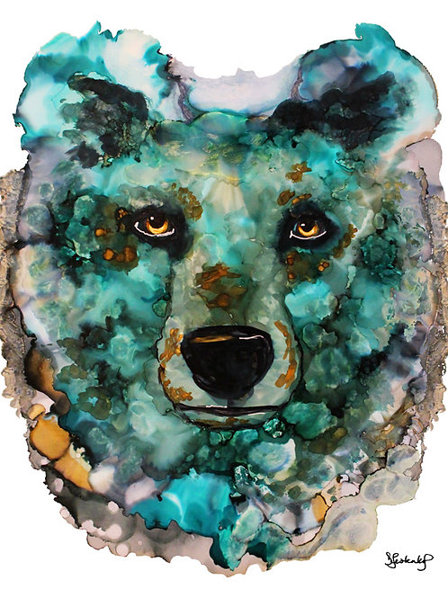 """Glacier Bear"", alcohol ink painting"