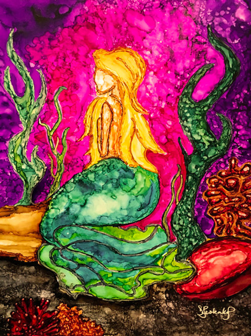 """""""Princess of the Sea"""",  alcohol ink painting"""