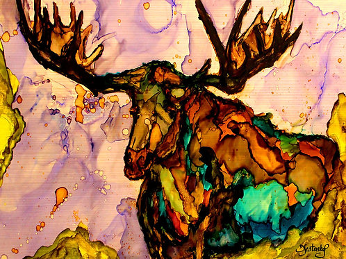 """""""Moose Garden"""",  alcohol ink painting"""