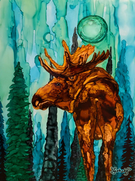 """Moose in Blue Fog"", alcohol ink painting"