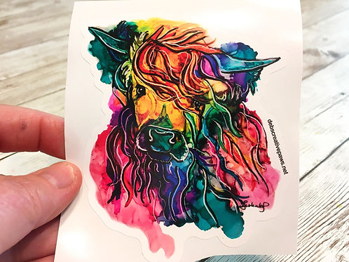 Colorful Highland waterproof sticker