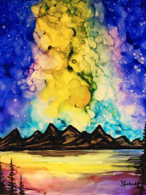 """Twilight Eruption"",  alcohol ink painting"