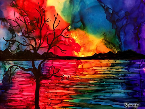 """Colorful Sunset"", alcohol ink painting"