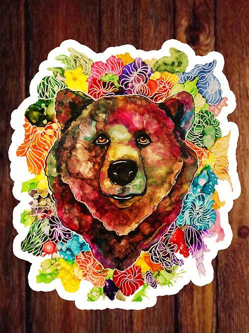 XL Blossom Bear waterproof sticker by Deb Lestenkof