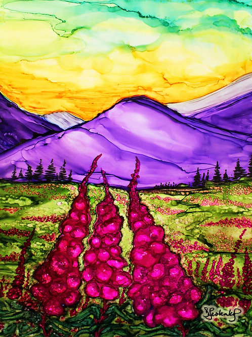 """Fireweed Sunset"",  alcohol ink painting"