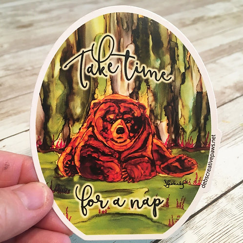 Take Time for a Nap waterproof sticker