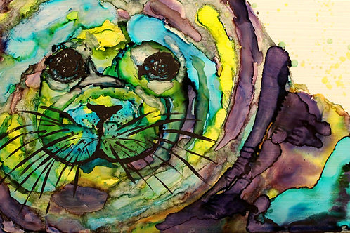 """Seal Pup"", alcohol ink painting"