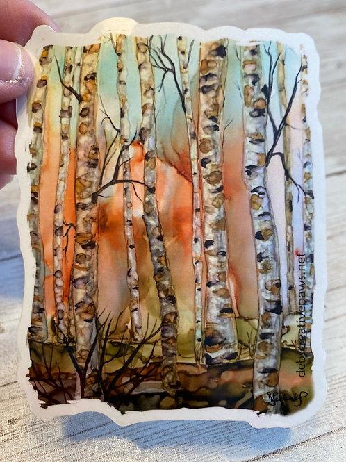 Spring Birches waterproof sticker